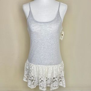 NWT Tucker + Tate Grey Tank with Lace Bottom - XL
